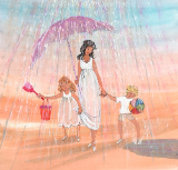 "P. BUCKLEY MOSS GICLEE "" RAIN DROPS AND PUDDLES """