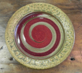 RAY POTTERY RED SPIRAL SALAD PLATE