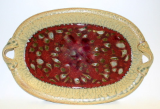 RAY POTTERY RED OVAL PLATTER WITH HANDLES