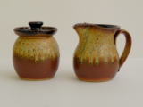 RAY POTTERY BLACK CREAMER AND SUGAR SET
