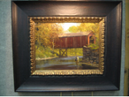 "BRETT SMITH ORIGINAL OIL "" COVERED BRIDGE "" FRAMED"
