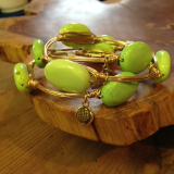 """ BOURBON & BOWETIES "" LIME GREEN OVAL"