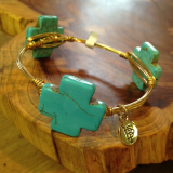""" BOURBON & BOWETIES "" SQUARE TURQUOISE CROSS"