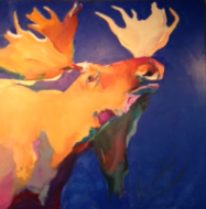 "BOB RANSLEY "" MOOSE ON BLUE """