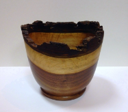 "BOB SCHRADER "" WALNUT TWO-TONE BUCKET BOWL """