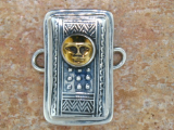 TABRA EMBOSSED PERUVIAN SUN GOD RECTANGLE CONNECTOR CHARM