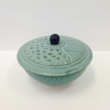 "CORNELL ART POTTERY "" SMALL TURQUOISE BOWL WITH LID """
