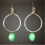 ANITA SCHMADTKE STERLING SILVER EARRINGS WITH CHRYSOPRASE DROP