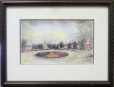 "LORRAINE BREWER FRAMED PRINT "" CHURCH CIRCLE 2000 "" (SMALL)"