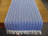 ROYAL BLUE AND NATURAL HONEYCOMB TABLE RUNNER