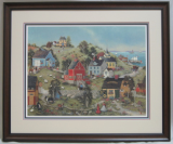 "LINDA NELSON STOCKS FRAMED "" STONEHILL VILLAGE "" LITHOGRAPH PRINT"