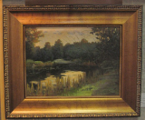 JOHN LLOYD JONES ORIGINAL OIL PAINTING WITH FLYFISHERMEN
