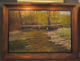 JOHN LLOYD JONES ORIGINAL OIL PAINTING WITH A FLYFISHERMAN
