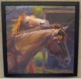 """TWO HORSES"" BY V. VAUGHAN FRAMED"