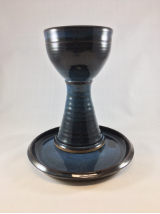 "PAUL GASKINS "" POTTERY COMMUNION SET ""  "" CHALICE AND PATEN "" SET"