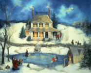 "LINDA NELSON STOCKS "" SKATING ON CHRISTMAS EVE "" LITHOGRAPH PRINT"