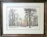 "FRANKLIN GALAMBOS FRAMED HAND TINTED ETCHING  "" MORNING HAZE """
