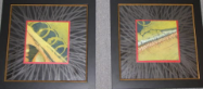 "HEIDI MAYFIELD "" ABSTRACT 3 & 4 "" SET OF 2 ORIGINAL MIXED MEDIA FRAMED"