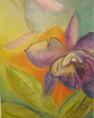 "HEIDI MAYFIELD "" PURPLE ORCHID "" ORIGINAL MIXED MEDIA"