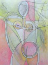 "HEIDI MAYFIELD "" PINK NUDE "" ORIGINAL MIXED MEDIA PAINTING"