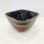 "RAY POTTERY "" SQUARE SOUP BOWL """