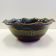 "RAY POTTERY "" FLUTED FRUIT BOWL """