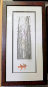 "FRANKLIN GALAMBOS FRAMED HAND TINTED ETCHING  "" ROSE PALE "" WITH EMBOSSED LEAF"
