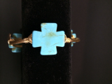 BOURBON AND BOWETIES SMALL TURQUOISE CROSS
