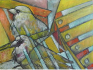 "HEIDI MAYFIELD "" TWO SPARROWS "" ORIGINAL MIXED MEDIA PAINTING"