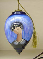 "P. BUCKLEY MOSS ORNAMENT "" BLUE MADONNA GLASS ORNAMENT """