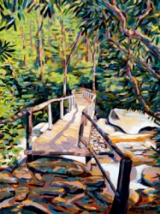 "LARRY SMITH "" BRIDGE AT CHIMNEY TOPS "" ORIGINAL OIL ON CANVAS"