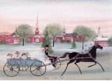 "P. BUCKLEY MOSS PRINT "" CHURCH CIRCLE RIDE """