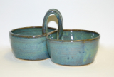 JERRY PRUITT DOUBLE SERVING BOWLS BLUE GREEN