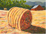 "LARRY SMITH "" LARGE HAY BALE WITH RED BARN """