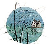 "P. BUCKLEY MOSS PRINT "" HOUSE ON THE BAY """