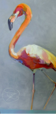 "BOB RANSLEY  "" FLAMINGO ON BLUE """