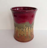 RAY POTTERY RED UTENSIL HOLDER / WINE COOLER