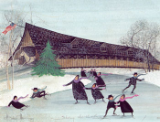 "P. BUCKLEY MOSS PRINT "" SKATING AT THE BRIDGE """