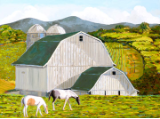 "LARRY SMITH "" WHITE BARN WITH HORSES """