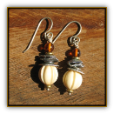 TABRA STERLING CARVED BONE BEAD EARRINGS ON WIRE