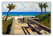 "LARRY SMITH "" BEACH WALK WITH THREE PALMS """